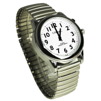 White watch face with clear black numbers and hands, fitted with expanding strap.