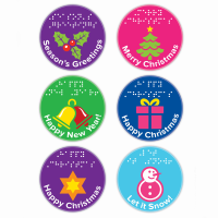 Sheet with six tactile Christmas stickers