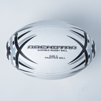 White rugby ball with printed black and silver design