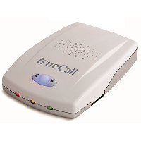 Front angle view of the TrueCall Vi nuisance call blocker and talking caller ID system