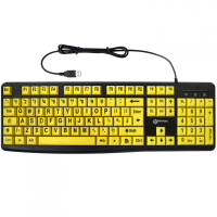Keyboard with black letters on yellow keys