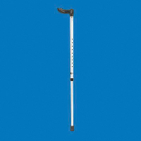 Full length white walking stick with a left-handed Fischer handle