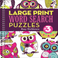 Brightly coloured front cover with owl illustrations