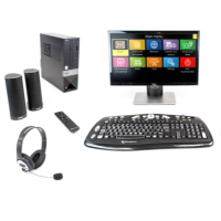 Monitor, keyboard, PC tower, two speakers, Guide Connect remote.