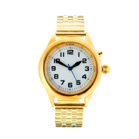 Gold talking watch with expanding strap