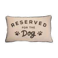 Reserved for dog pillow against a white background