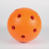 Orange ball made from hard foam with holes so bells can be heard