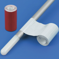 A roll of reflective tape attached to a cane