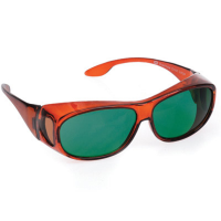 Front view of Orion medium eyeshields with green filter
