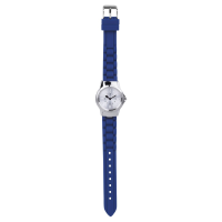 A watch with a stainless steel case, silver tone dial and is completed with a blue silicone strap