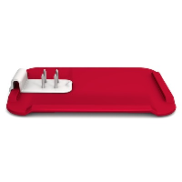 Large, red chopping board with four-pronged food holder attached