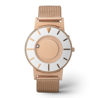 Close up of stylish tactile watch with silver-coloured and rose gold-coloured features