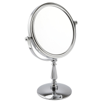 Front angle view of chrome pedestal mirror
