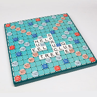 Large Print Scrabble board with tiles in play