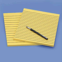 Two pads of yellow lined paper and a pen