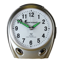 Portable silver clock with white face and clear black numbers and silver function buttons