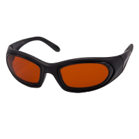 Front view of SideVue wraparound eyeshields with black frames and amber filter