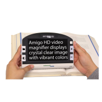 Amigo HD Portable Video Magnifier with black and white buttons and white text on a black background