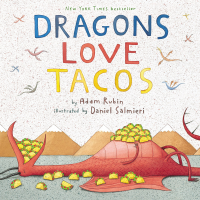 Front cover showing illustrated dragon eating tacos