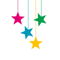 Four hanging stars tactile Christmas card