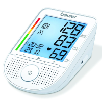 Close-up side angle view of blood pressure monitor showing digital display details