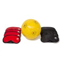 Blind Football start up kit including masks and ball against a white background