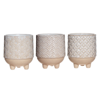Set of 3 Japandi mini planters against a white background