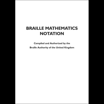 Braille maths notation front cover