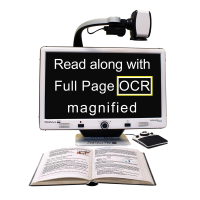 DaVinci Pro HD Desktop Video Magnifier with white text on screen and mounted camera over a book