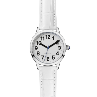 Face on angle of easy-to-see ladies watch with white PU crocodile effect strap