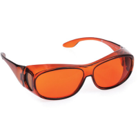 Front view of Orion medium eyeshields with amber filter