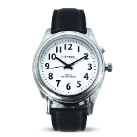 Face on view of the white faced watch with clear black numbers and hands and black leather strap