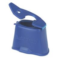 Close up of a blue AutoDrop eye-drop dispenser