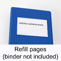 Close-up of Braille indexed address book containing refill pages