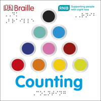 Front cover of DK Braille Counting showing a pyramid of 10 different coloured circles