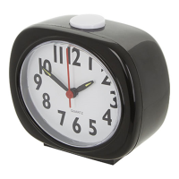A front angled analogue talking clock in black with a large white button on top