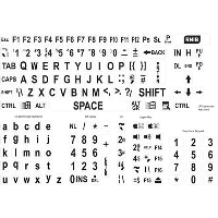Large print keyboard stickers with black text on white background