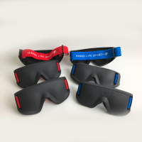 Justa Blind sports masks in red and blue