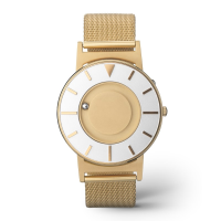 Face on stylish tactile watch with gold-coloured features