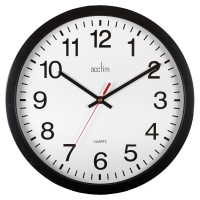 A large easy-to-see quartz wall clock in black with a white clock face