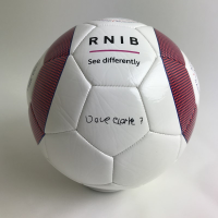 Top view of the rattle ball including Dave Clarke's signature