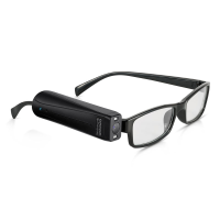 Orcam MyReader 2.0 attached to a pair of glasses