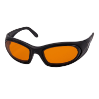 Front view of SideVue wraparound eyeshields with black frame and orange filter