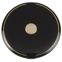 Closed compact mirror in a black gloss case with a gold detail in the centre and around the edge