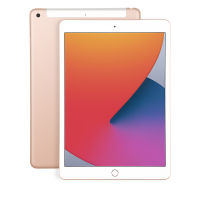 Apple iPad 8th Gen 32GB, gold model showing front and back of tablet