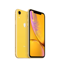 Yellow Apple iPhone XR 128GB front and back of phone shown.