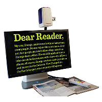 """Onyx 22"""""""" desktop video magnifier with yellow text on black screen"""