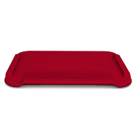 A large red chopping board