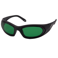 Migralens wrap-around eyeshields with a black frame and green filter