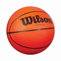 Orange basketball with black lines and 'Wilson' printed on it